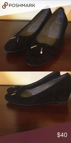 Stuart Weizmann black suede wedges Stuart Weizmann black suede wedges. Size 10 medium. Chic and comfortable. Stuart Weitzman Shoes Wedges