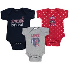 9217316fd Los Angeles Angels of Anaheim Soft As A Grape Girls Newborn   Infant Baby  Girl Love Baby Girl Love Multi-Size Bodysuit Set