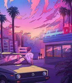 Los Angeles parking wv yellow old school retro car illustration digital art synthwave artwork sun New Retro Wave, Retro Waves, Neon Aesthetic, Aesthetic Anime, Arte Indie, Vaporwave Wallpaper, Vaporwave Art, Car Illustration, Design Poster