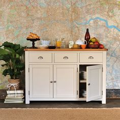 Lundy Stone Grey 3 Door 3 Drawer Sideboard perfect for a free standing kitchen Kitchen Sideboard, Solid Wood Sideboard, White Sideboard, Large Sideboard, Oak Sideboard, White Buffet, Oak Furniture Land, Grey Furniture, Dining Room Furniture