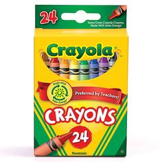 Help inspire your little artist with this 24 count box of colorful crayons.