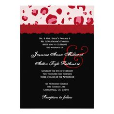 Red Pink Leopard Lace Wedding Monogram P104 Personalized Announcements