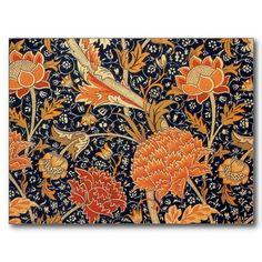 William Morris Wallpaper Cray Design Postcard.  Orange and Black.  Arts and Crafts Movement.