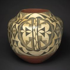 Acoma  Acoma Pueblo, New Mexico, United States    Black-and-White Storage Jar with Abstract Geometric Motifs, 1890s    Ceramic (earthenware) and pigment