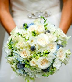 Gathered Bridal Bouquet Made With Those Gorgeous Garden Roses, Thistle,  Freesia And Hydrangea. Created By TableArt.