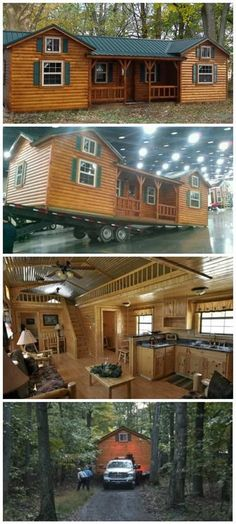 38 Rustic Tiny House Ideas - Page 34 of 39 Town Country Haus, Casas Containers, Log Cabin Homes, Log Cabins, Diy Cabin, Log Cabin Mobile Homes, Prefab Log Homes, Modular Log Cabin, Amish Cabins