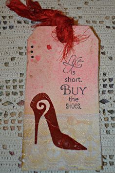 Red Stiletto Tag / Mixed Media Shoe Tag /Red by MoreFriendsAndCo, $2.95