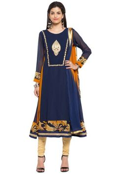Dark Sapphire Blue and Carrot Orange Faux Georgette Embroidered Party Churidar Kameez