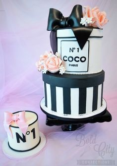 Chanel inspired birthday cake and coordinating smash cake