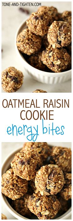 """Oatmeal Raisin Cookie Energy Bites from <a href=""""http://Tone-and-Tighten.com"""" rel=""""nofollow"""" target=""""_blank"""">Tone-and-Tighten.com</a>"""