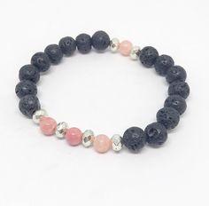Pink Stone & Lava Rock Diffuser Bracelet For Essential Oils, Beaded Lava Bracelet, Oil Bracelet, Calming Bracelet, Lava Jewelry Gift by HarpersHandmadeCo on Etsy https://www.etsy.com/listing/526341886/pink-stone-lava-rock-diffuser-bracelet