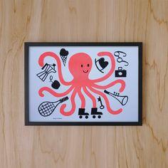 Octopus Risograph Print