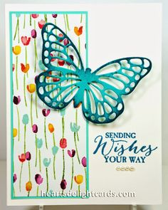 SU! Butterfly Basics stamp set; Butterfly Framelits; Whisper White, Coastal Cabana, Bermuda Bay cardstock; Painted Blooms DSP; Island Indigo ink - Cindy Elam