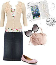 Absolutely love this! Denim pencil skirt (I must get one...), cardigan, floral, and fun flats!