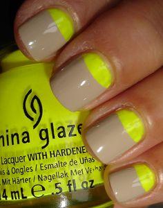 Neutral + neon half moons = China Glaze 'Yellow Polka Dot Bikini' + OPI 'Did You 'Ear About Van Gogh? China Glaze, Great Nails, Cute Nails, Opi, Moon Nails, Nail Time, Fancy Nails, Creative Nails, Nails Inspiration