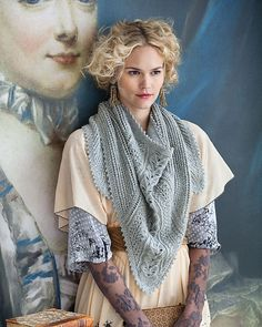 [Lace paneled shawl pattern, Vogue Knitting Fall 2011 Credit: Vogue Knitting] Love it! Knit Cowl, Knitted Shawls, Crochet Shawl, Knit Crochet, Knitted Scarves, Crochet Crafts, Vogue Knitting, Lace Knitting, Knitting Club
