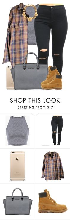 """Random fall set cause this summer not even hot.. Shoutout to @sipping-gold tho! ❤️"" by livelifefreelyy ❤ liked on Polyvore featuring Timberland, MICHAEL Michael Kors and Versace"