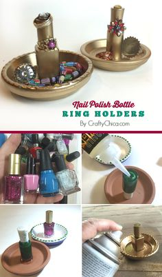 DIY ring holder: Use old nail polish bottles and dishes!