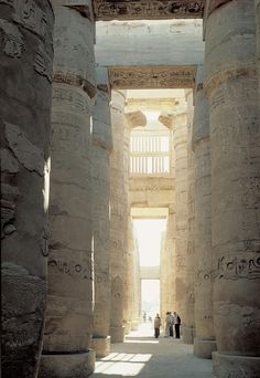 Temple of Amun-Re and Hypostyle Hall. Karnak, near Luxor, Egypt. New Kingdom, 18th and 19th Dynasties. Temple: c. 1550 B.C.E.; hall: c. 1250 B.C.E. Cut sandstone and mud brick.