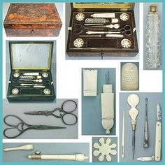 Antique French Burlwood Sewing Workbox w/Tools; circa 1820