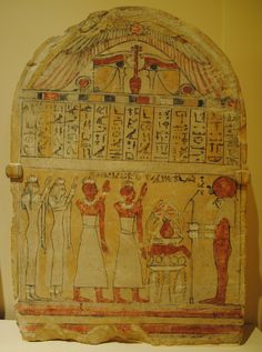 "Stela of Osiris Str-au, said to be from Abydos.  This painted limestone stela was erected in the mid-7th century B.C.E, prossibly in the Temple of Osiris at Abydos. The deceased, ""who used to praise the god in Luxor,"" and his family members are shown standing before an offering table in the presence of the sun-god Re. (Text: Semitic Museum).  Courtesy  currently located at the Semitic Museum, Harvard University, Cambridge, MA."