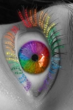 Rainbow Eyes Very Beautiful. Rainbow Eyes, Rainbow Art, Rainbow Colors, Rainbow Flowers, Pretty Eyes, Cool Eyes, Beautiful Eyes, Beautiful Pictures, Taste The Rainbow