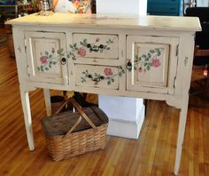 Sale Vintage Shabby Chic Cottage Pale Yellow Buffet Sideboard w/ Hand Painted Roses by margaretmcelroy on Etsy https://www.etsy.com/listing/227317307/sale-vintage-shabby-chic-cottage-pale