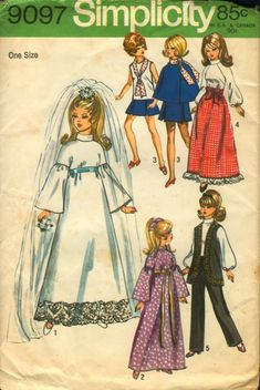 Items similar to Simplicity Pattern 9097 Barbie Doll Wardrobe Sale on Etsy Barbie Sewing Patterns, Doll Clothes Patterns, Vintage Sewing Patterns, Clothing Patterns, Doll Patterns, Crochet Patterns, Sew Pattern, Dress Patterns, Wedding Dress With Veil