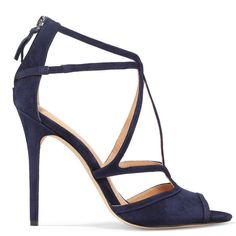 Halston Heritage Monica suede sandals (£168) ❤ liked on Polyvore featuring shoes, sandals, navy, almond toe shoes, zipper sandals, suede shoes, navy high heel shoes and navy suede shoes