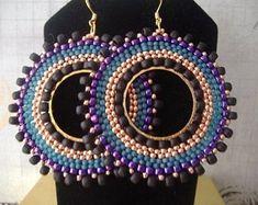 Items similar to Beadwork Hoop Earrings Big Bold Magnificent Seed Bead Hoop Earrings on Etsy Seed Bead Necklace, Seed Bead Jewelry, Seed Beads, Beaded Jewelry, Big Earrings, Beaded Earrings, Earrings Handmade, Beaded Bracelets, Hoop Earrings