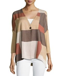 Patch-Print+Ribbed-Sleeve+Jacket,+Multi+by+Ming+Wang+at+Neiman+Marcus+Last+Call.