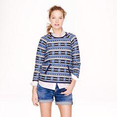 Popover sweatshirt in floral jacquard - cotton & denim jackets - Women's outerwear - J.Crew