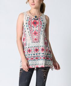Love this Taupe Geometric Side-Slit Tunic on #zulily! #zulilyfinds