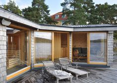 Murman Arkitekter created this timber-clad sauna for a seaside home on the Stockholm archipelago.