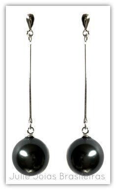 Brincos longos em prata 950 e pérola akoya (long 950 silver earrings with akoya pearl)