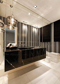 Banheiros/lavabos escuros - veja dicas e ambientes lindos com essa tendência!