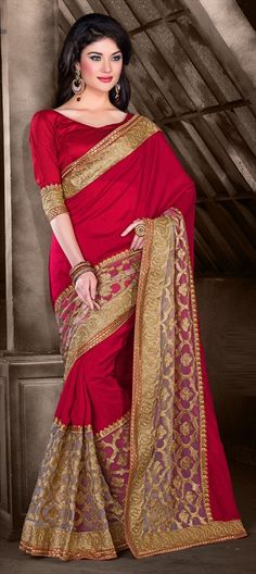173534, Embroidered Sarees, Party Wear Sarees, Georgette, Zari, Border, Machine Embroidery, Pink and Majenta Color Family