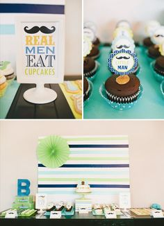 Real men eat cupcakes sign.  And background with colored fan.  Add letter D on the table.