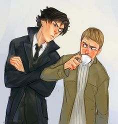 Sherlock fan art. I loved this scene. Sherlock is peering over and smiling awkwardly at John and its so adorable and funny.