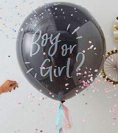 """Schwarzer Riesenballon mit Tasseln """"Boy or Girl?"""" Gender Reveal Party Supplies, Gender Reveal Decorations, Baby Gender Reveal Party, Reveal Parties, Baby Shower Decorations, Gender Party, Room Decorations, Balloon Decorations, Confetti Balloon Gender Reveal"""