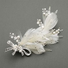 Wedding Hair Clip with Ivory Horsehair Ribbons, Crystals  and pearls at www.specialoccasionsforless.com