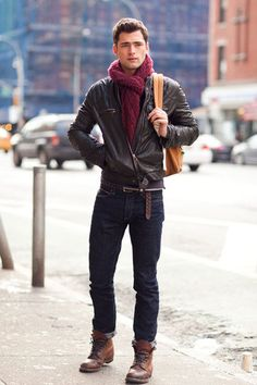 Men's Dark Brown Leather Bomber Jacket, Navy Jeans, Brown Leather Casual Boots, Tan Backpack