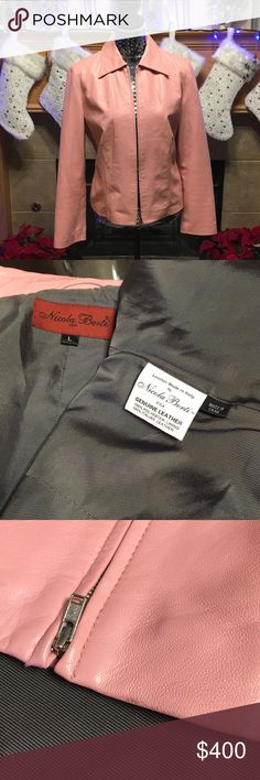 "BEAUTIFUL NICOLA BENTI-100% ITALIAN LEATHER-LARGE PINK 100% ITALIAN LEATHER-SIZE LARGE-ZIPS UP THE FRONT-ZIPPERS ON SLEEVES-NO POCKETS-ARHOLE DISTANCE IS ABOUT 20""-LENGTH IS ABOUT 22""-SLEEVES IS ABOUT 23 1/2""-HAS A VERY VERY TINY GREY SMUGE ON SLEEVE-SEE PICTURES Nicola Benti Jackets & Coats Blazers"