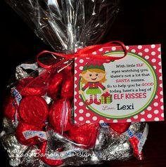 DIY Printable Elf Kisses Holiday Favor Tags...Hugs for School friends