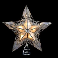 "10"" Lighted Silver Lace Capiz Star with Scroll Design Nickel Plated Christmas Tree Topper - Clear Lights: Christmas Decor : Walmart.com"