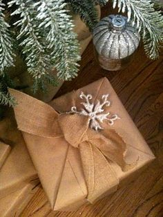 kraft paper with burlap bows - charming rusticity