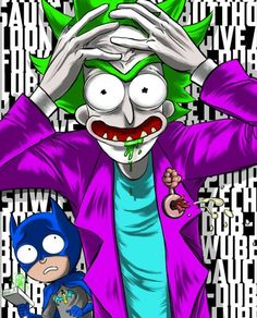 Rick and Morty x The Joker & Batman Cartoon Wallpaper, Iphone Wallpaper, Rick Und Morty Tattoo, Dragonball Anime, Rick And Morty Crossover, Rick And Morty Drawing, Rick I Morty, Rick And Morty Stickers, Rick And Morty Poster