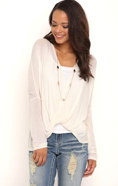 Deb Shops Long Sleeve Twist Front Knit Top $10.50