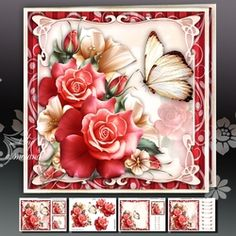 Red Roses with Lily Card Mini Kit on Craftsuprint - View Now!