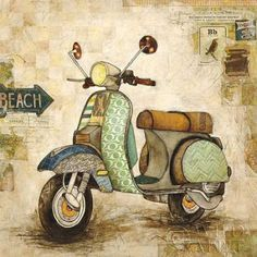 Jennifer Wagner: Galavanting Around II Keilrahmen-Bild Leinwand Vespa Oldtimer i… Jennifer Wagner: Galavanting Around II Stretcher Image Canvas Vespa Vintage Cars in Furniture & Home, Decoration, Pictures & Prints Decoupage Vintage, Decoupage Paper, Vintage Diy, Vintage Labels, Vintage Images, Vintage Vespa, Vintage Pictures, Vintage Prints, Posters Vintage